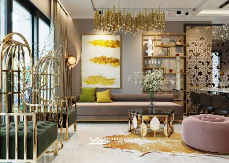 D'CAPITALE 121M2 아파트의METALIC LUXURY스타일 디자인